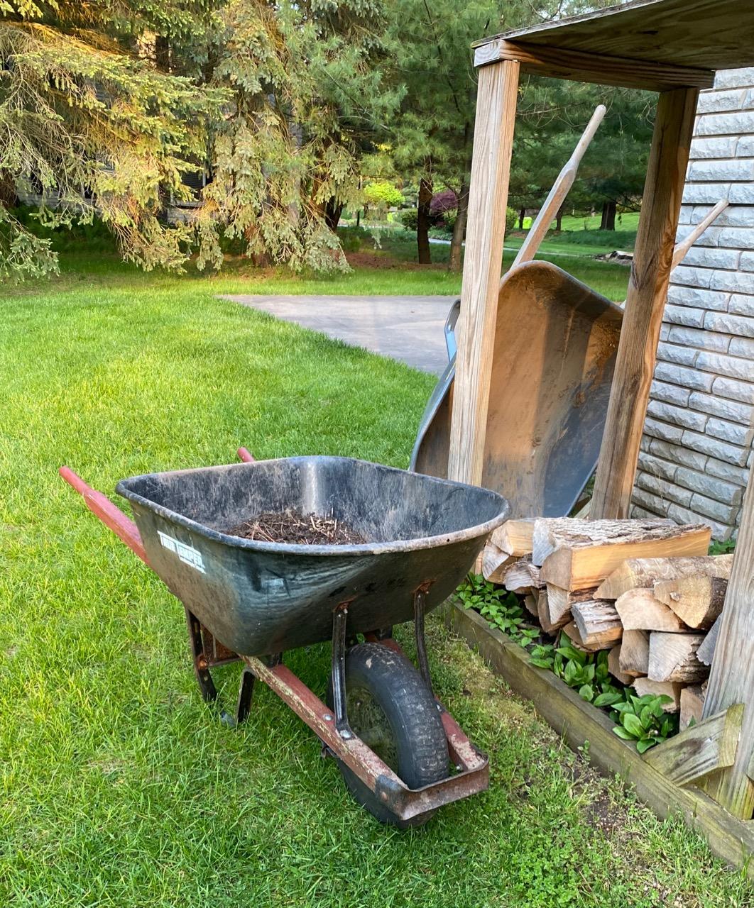 aging wheelbarrows